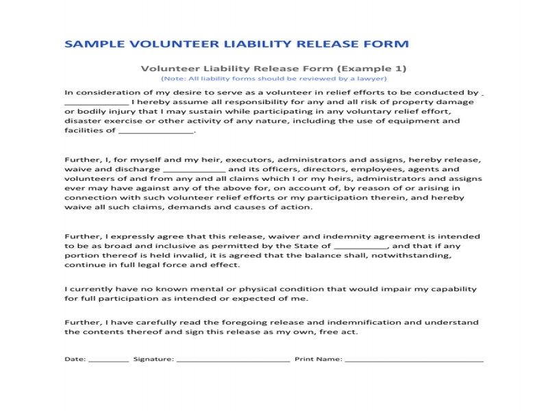 Release Of Liability Form Pdf Volunteer Liability Release In Word And Pdf Formats