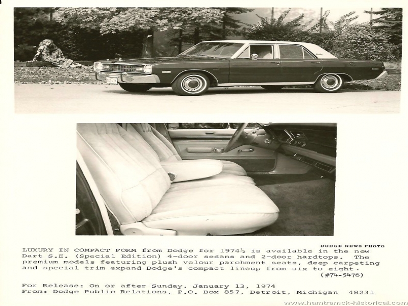Release Of Vehicle Form The 1970 Hamtramck Registry 1974 12 Dodge Press Release Page