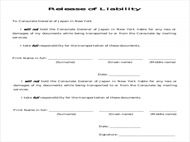 Car Release Form Sample Liability Release Form  Examples In Pdf