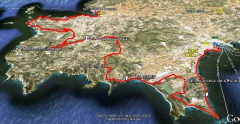 Ibiza Ultra team 2012 Mapa de carrera 74k  d+1378m