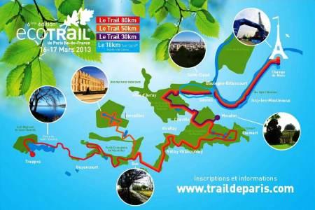 Ecotrail Paris 2013: Mapa de las carreras