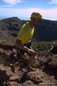 Luis Alberto Hernando (Adidas Trail) Liderando Transvulcania al paso por el techo de carrera, 2.426m.