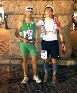 Alejandro y Mayayo tras completar los 100k Madrid Segovia 2012.