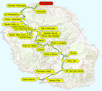 Grand raid reunion Diagonale des fous 2013 Mapa de carrera