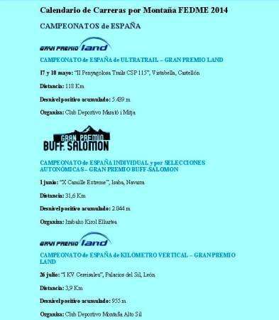 Calendario FEDME carreras montaña 2014