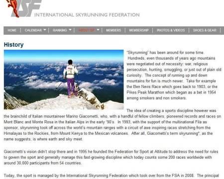 Skyrunning History Historia 1993