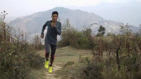 Aite Tamang en carrera.
