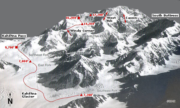 Mc Kinley: mapa rutas ascensión. Alpineascents.com
