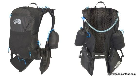 Mochila trail running TNF Race Vest: Vista frontal y trasera