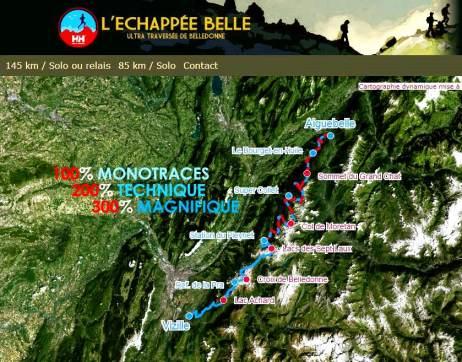 Ultra trail Echapeebelledonne 2014 Mapa carrera 145k D+11000m