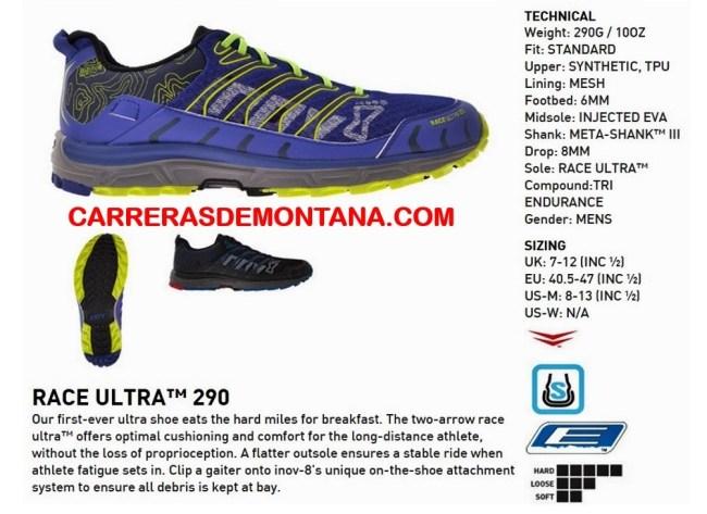 Zapatillas Inov8 Race ultra 290. Ficha técnica oficial