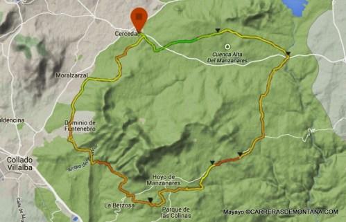 trail running madrid: Vuelta Sierra del Hoyo 44k/D+825m Mapa por Mayayo.