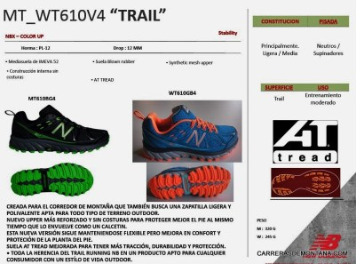 New Balance Trail running 2015: Ficha técnica oficial NB MT610B4
