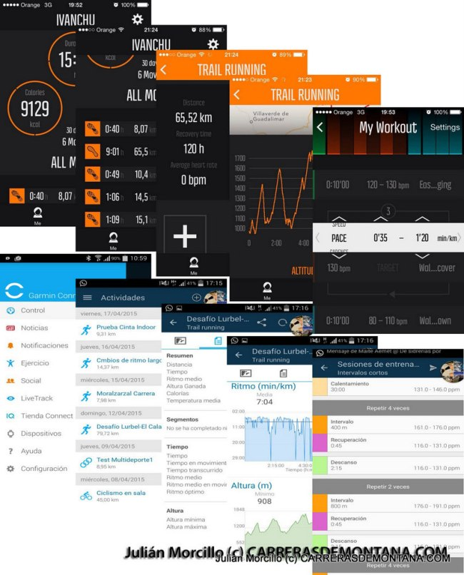 5.Comparación entre pantallas similares de las aplicaciones móvil Movescount (arriba) y Garmin Connect Mobile (abajo). Garmin Connect tiene acceso a más datos, pero Movescount App lleva incorporado el diseñador de entrenos por intervalos (Garmin Connect dispone del mismo en la aplicación web).