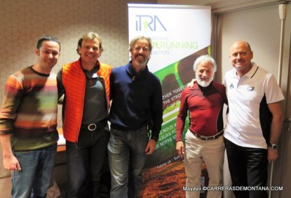 Representación española en Asamblea ITRA: Fernando Rosa, Sergio Garasa, Carlos Gª Prieto, Eduard Jornet y Paco Rico.