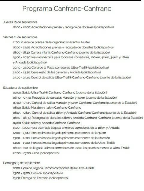 Programa carreras de montaña Canfranc Canfranc