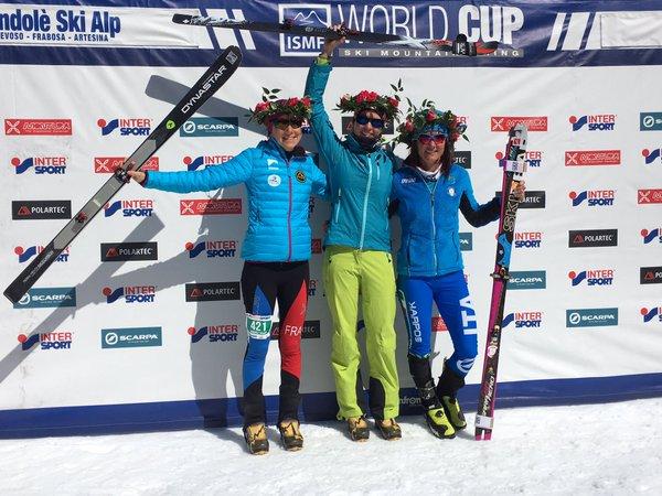 Skimo mondole ski alp individual podio fem. Jennifer Fietcher Axelle Mollaret Katia Tomatis