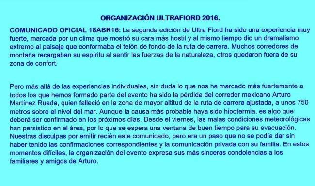 ultrafiord 2016 Comunicado oficial