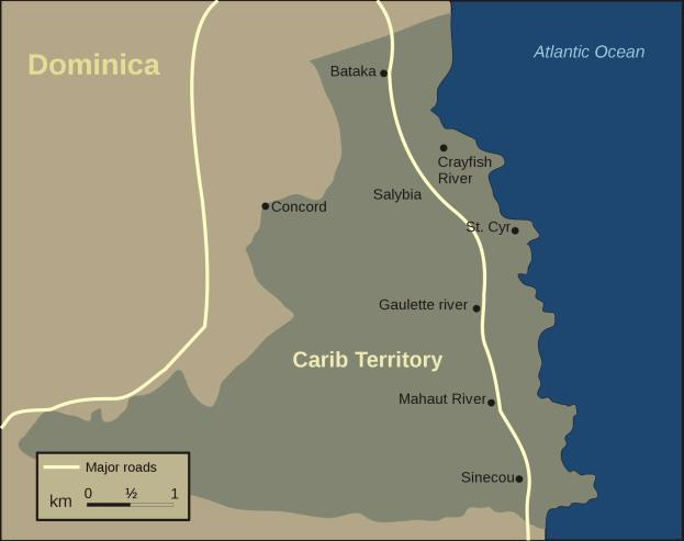 Carib Territory or Carib Reserve on Dominica - map.
