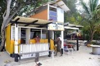 Banana jo merit museum and bar on paradise beach.