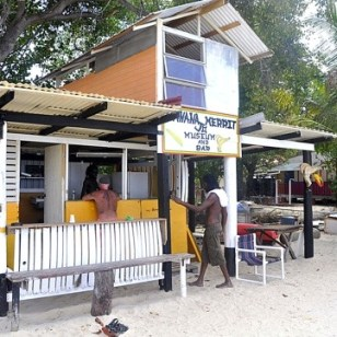 Banana jo merit museum and bar on paradise beach.