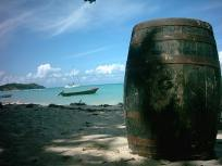 Wooden barrel on Paradise beach of Carriacou.