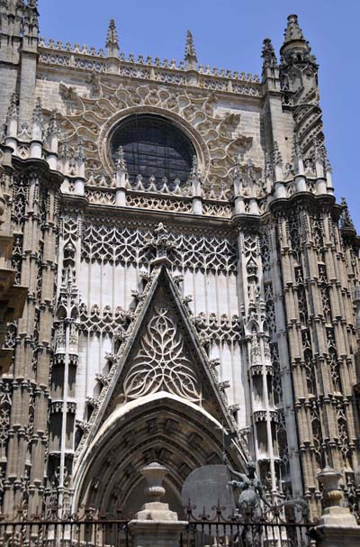 elaborate stonework on one of the entrances to Seville's cathedral