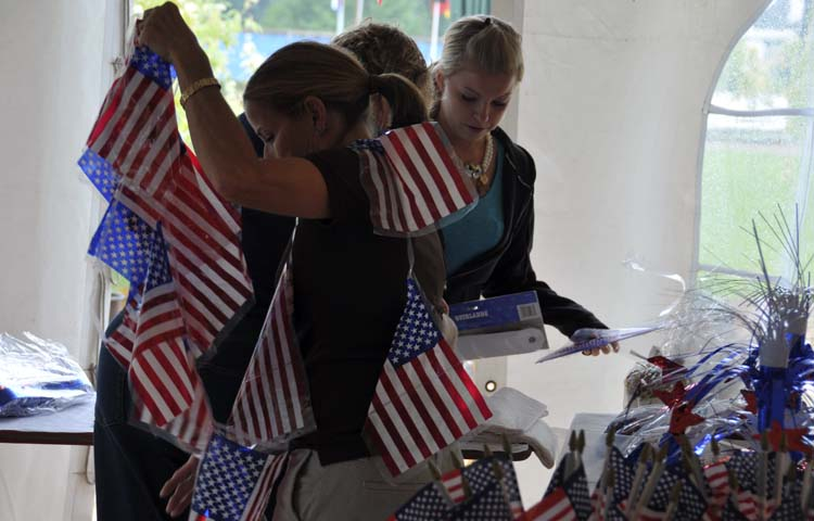 our group helped to decorate the U.S. table for the Nations' Party ...