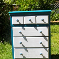 Kitchen Island With Shelves Mosaic Tile Blue Dresser Four White Drawers And Gorgeous Knobs ...