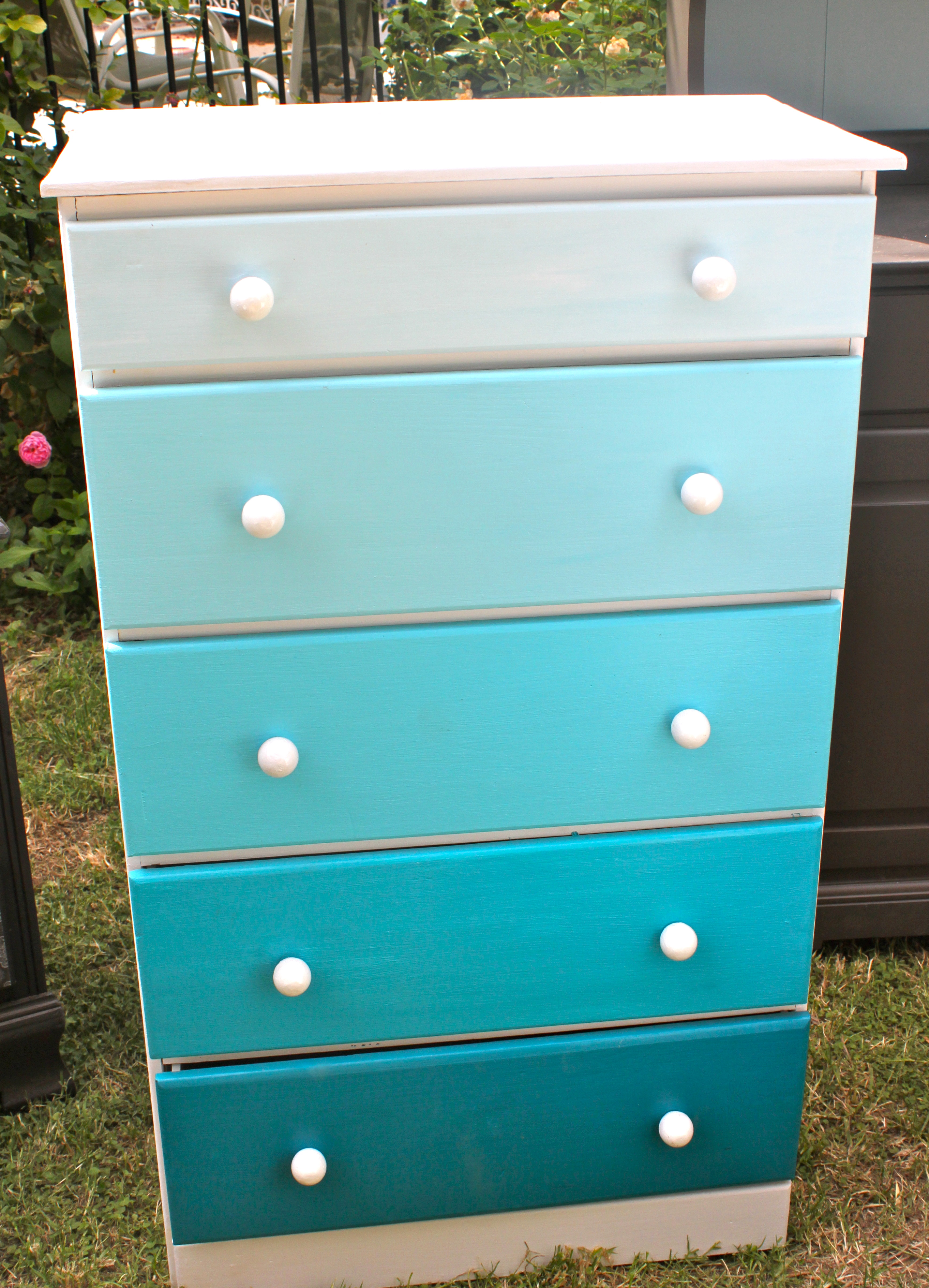 Shades of Blue Ombre FiveDrawer Dresser  Carriage House Boutique
