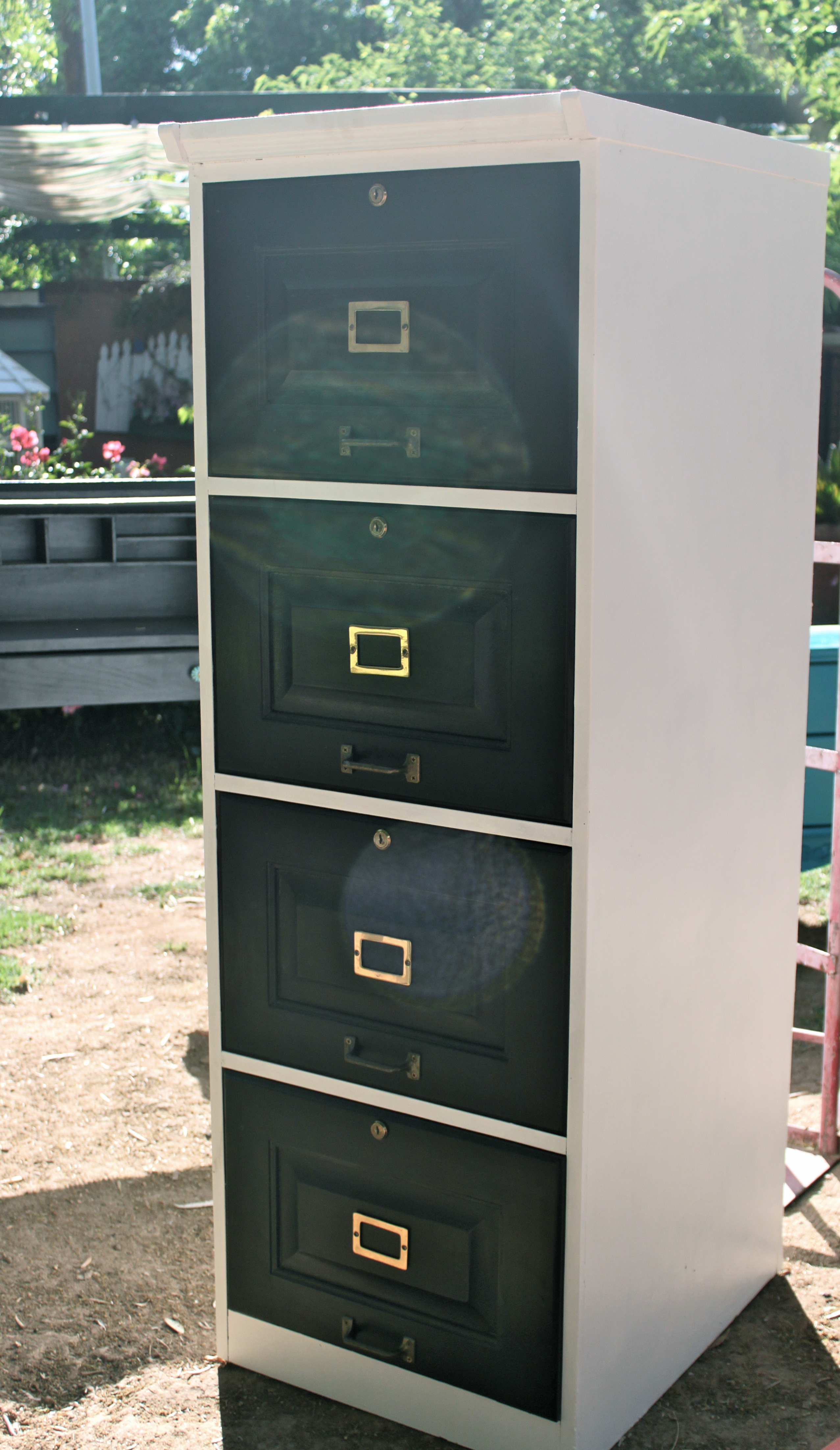 Repurposed FourDrawer Filing Cabinet into Dresser with