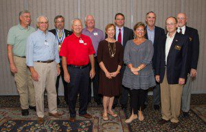 L-R: Tim Baldwin, Charlie Arraiz, GA Kiwanis Lt Gov. Allan Rassi, Phil van Ess, Tom Stephens, President Joyce Glenn, Kevin O'Neil, Cecilia Russo, Treasurer Jay Ahrens, President-Elect Ben Gustafson, Past President Bob Norton. Missing from photo: Secretary Ron Weber, Chris Butler, Dave Fox, and Jan Wright.