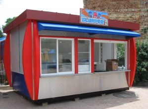 Outdoor food and beverage kiosk on location at Six Flags