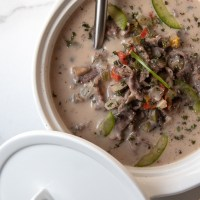 Cheesy Peppered Steak Soup