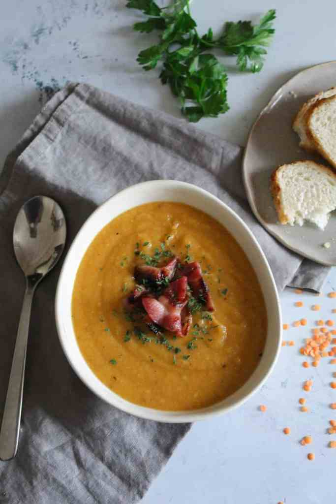 Red Lentil Soup with Crispy Bacon
