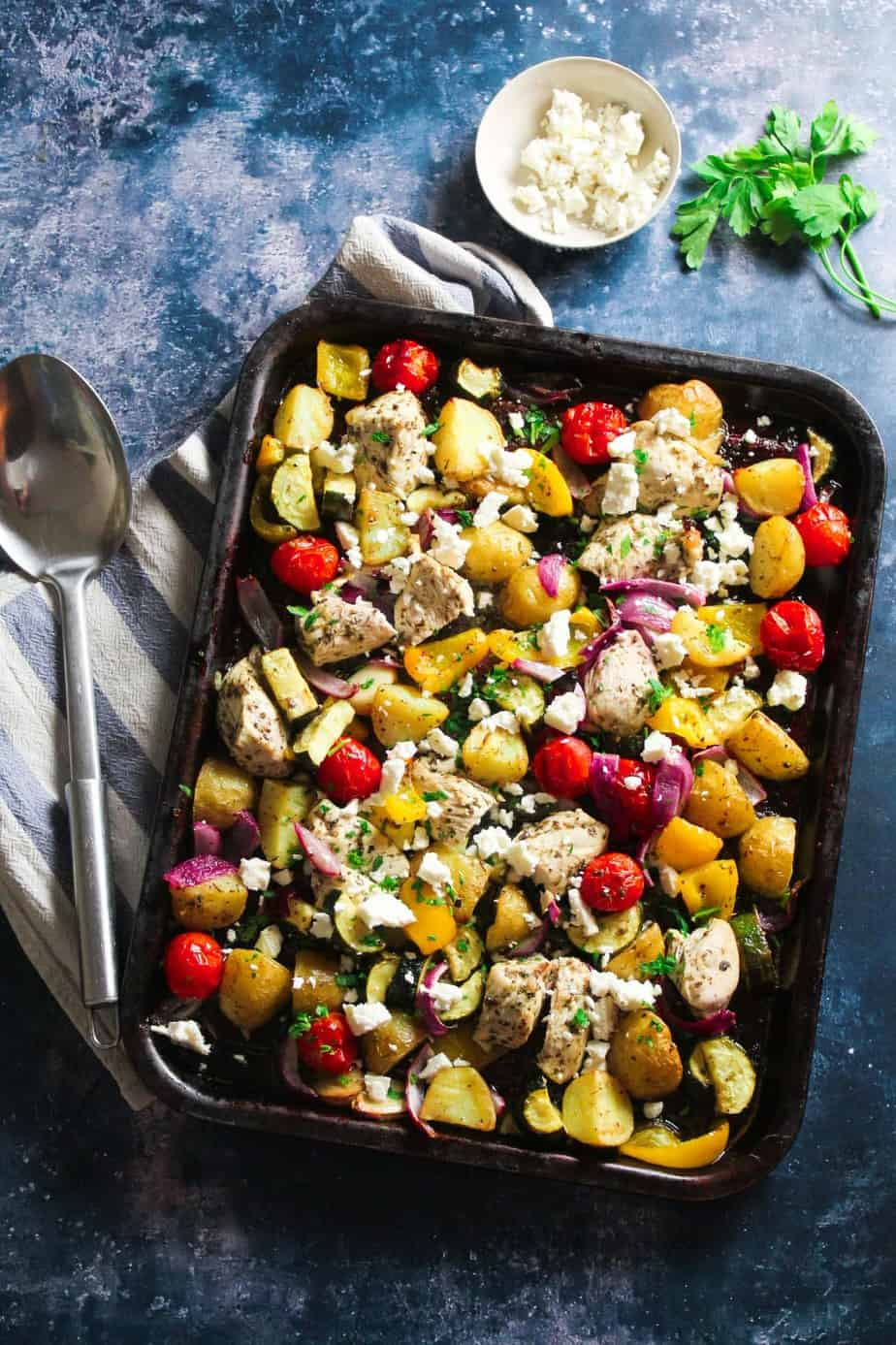 Greek Chicken Tray Bake with Potato and Vegetables