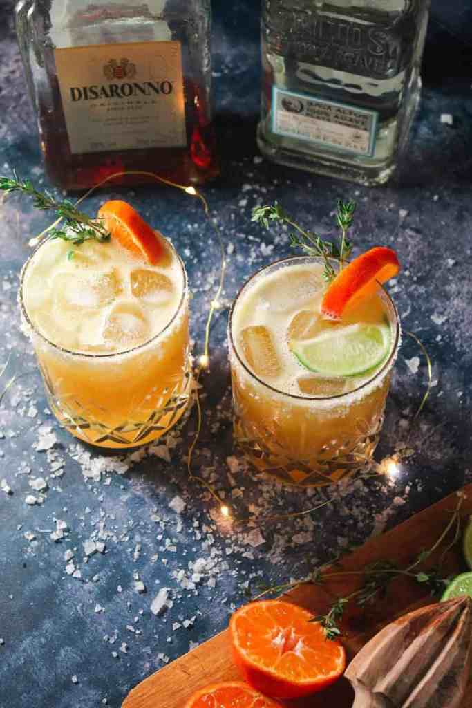 Festive margaritas with orange and amaretto