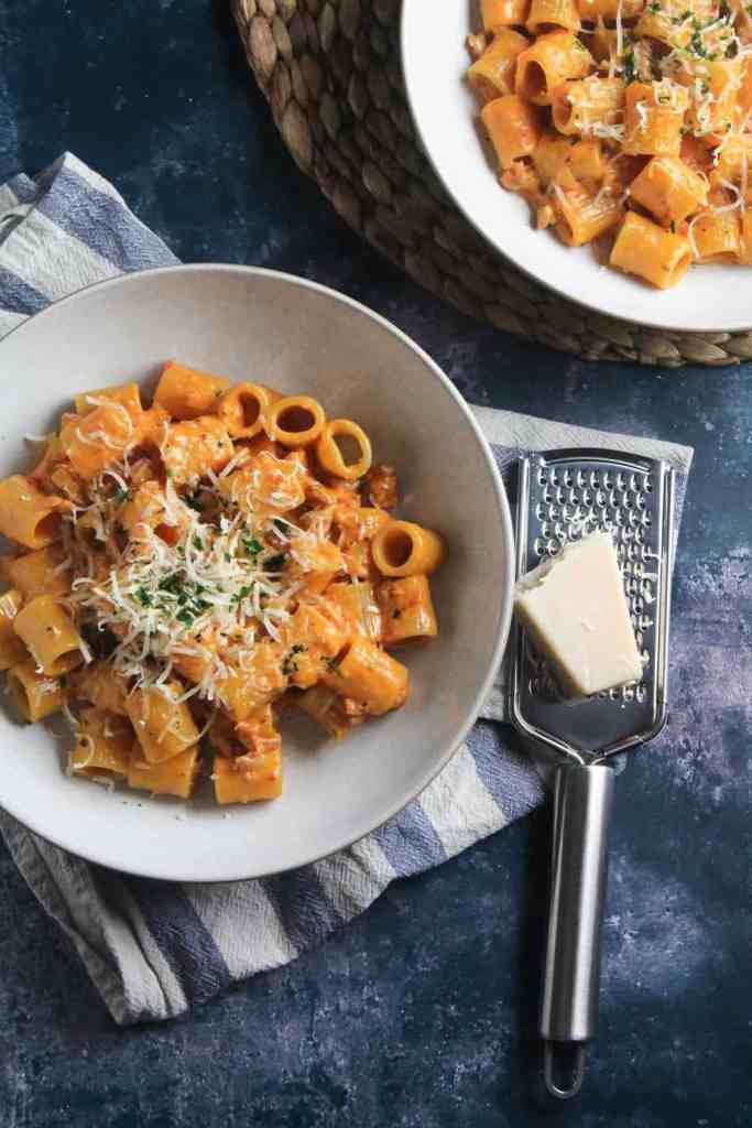 Rigatoni pasta with a creamy sausage and tomato sauce,