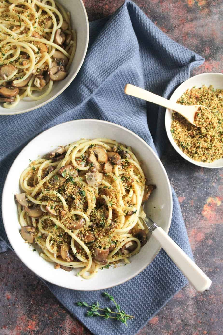Garlic Mushroom Pasta with Herby Breadcrumbs | Vegan, Dairy Free