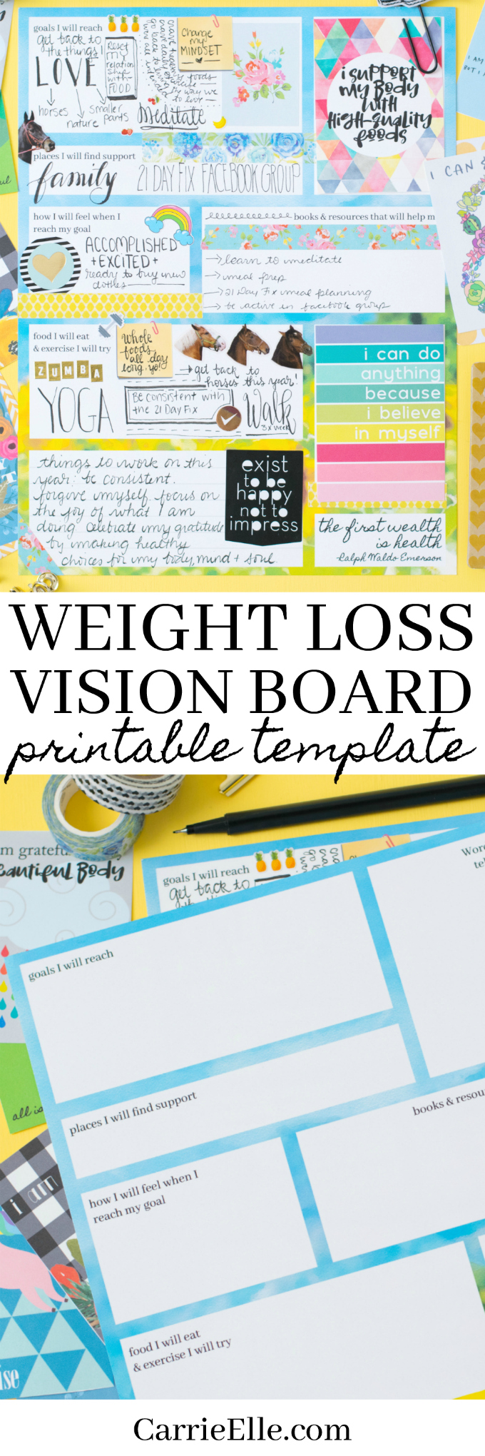 Weight Loss Board : weight, board, Printable, Weight, Vision, Board, Template, Carrie