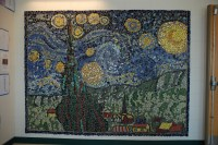 van goghs starry night mosaic mural