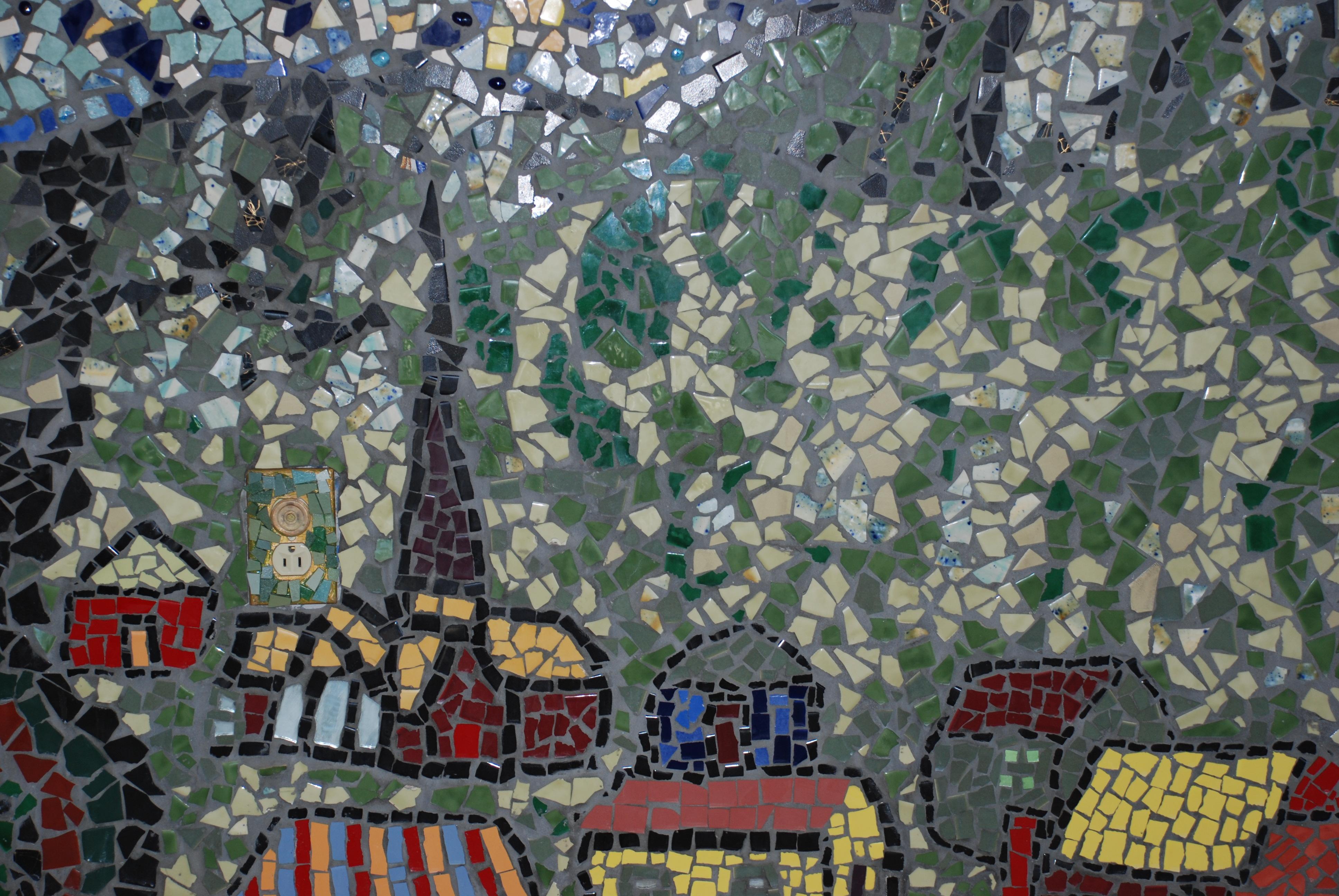van goghs starry night mosaic mural