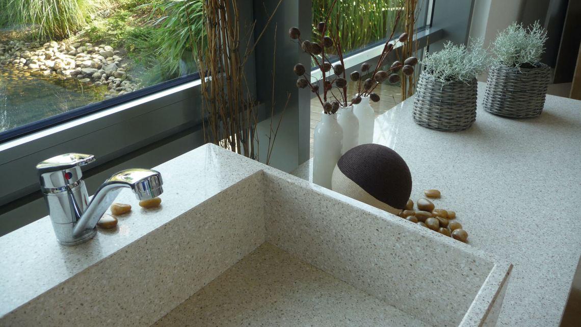 Plan de travail salle de bain Quartz Silestone Luna Eco Bano
