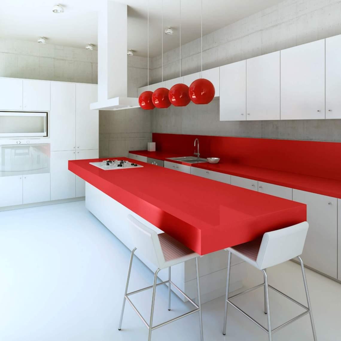 Plan de travail cuisine Quartz Silestone Rosso Monza