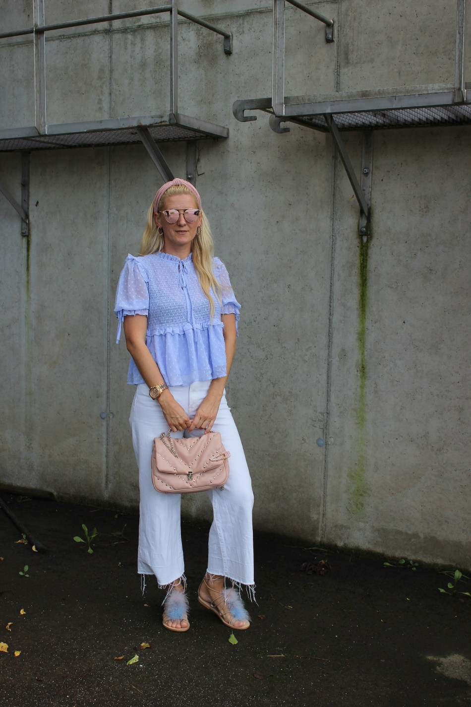 Nakd Fashion-Hellblaue Bluse-Sunglasses-Coulottes-Culottes-Bloggerstyle