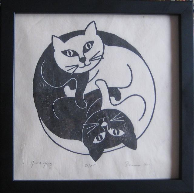 "Brian Lockyear, ""Yin & Yang,"" Woodblock, ed. 25, 10 x 10 inches"
