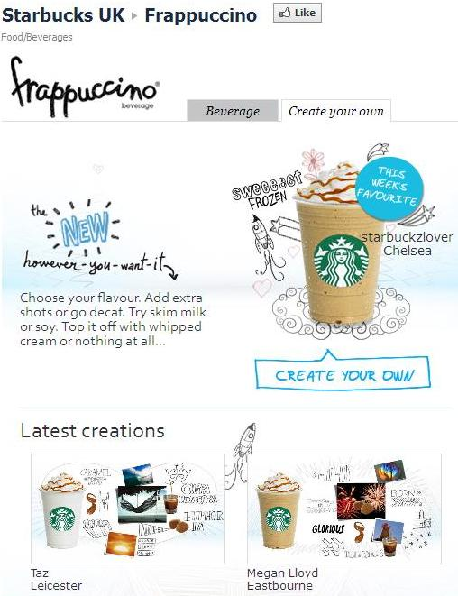 Starbucks UK Frappuccino app