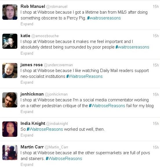 #Waitrosereasons social media reaction