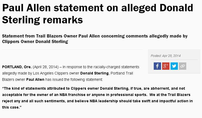 Paul Allen statement