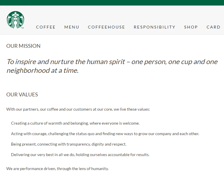 Starbucks values